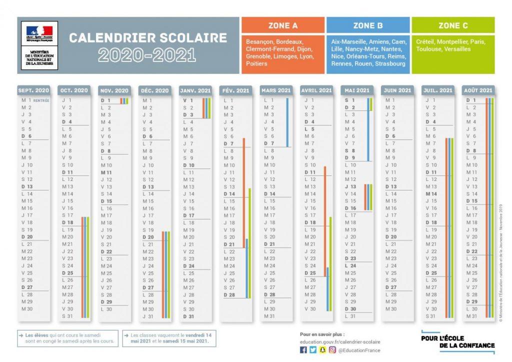 Calendrier scolaire 2020 2021 – Ecole Primaire Veauchette